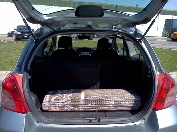 Rug folds up compactly to fit in any car.
