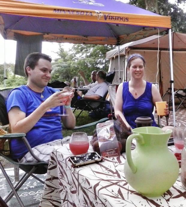 David Salisbury and Heather Biedermann enjoy a watermelon cocktail